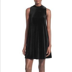 Everly Black Mock Neck Velvet Shift Dress